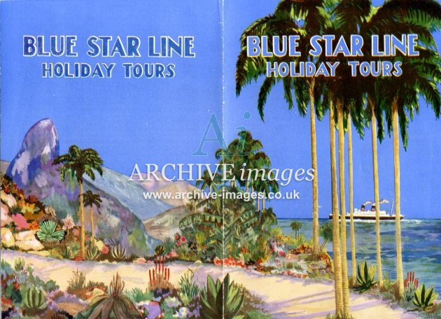 Blue Star Line holiday tours c1935 poster CMc