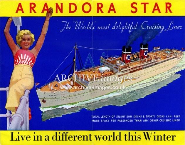 Blue Star Line SS Arandora Star 1938 cruises poster CMc