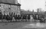Mounted plice guarding Ludlow's Colliery, Radstock, during the 1921 Strike.