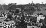 View probably from tower of St. John's church, with Town Hall on right, Midsomer Norton gas works in centre left distance and Norton Hill colliery on skyline.