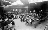 New aeroplanes on display at an exhibition inside the Winter Gardens, Cheltenham