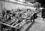 Gloucester Railway Carriage & Wagon Co Ltd, 1924. Wagon Shops. Wooden wagon underframes being built.