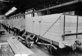 Gloucester Railway Carriage & Wagon Co Ltd, 1924. Paint Shop. Open wagons being finsihed.