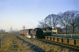 BR Standard tank No 80080 at Tinkers Green Halt in January 1965. Halt opened by the GWR in 1939 to serve a nearby military camp. It closed to passengers on 18th January 1965.