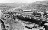 Portreath harbour circa 1908, with three of the locally owned Bain fleet of coastal steamers in dock – GUARDIAN, OLIVIA and TRELEIGH.