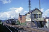 A pair of BR Standard Class 78xxx 2-6-0s make use of the crossover in front of Gobowen North Signal Box in September 1966