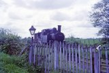 This is believed to be the old halt between Titley and Pembridge, with No. 1458 and brake van paused in May 1964.