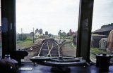 The view from the cab of a DMU approaching Topsham station in June 1964