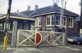 Barnstaple Town station, signal box and level crossing circa 1968