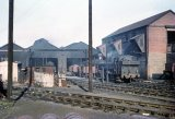 A pannier tank shunts coal wagons at Bath Green Park shed on 29th April 1962