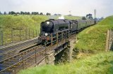 West Country Class 4-6-2 No. 34093 Saunton approaching Yeovil Junction in June 1961 with an express for Exeter Central. The train is just about to pass over the ex-GWR line from Yeovil Pen Mill to Weymouth
