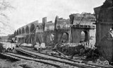 During construction. 3 workmen killed. This view shows contractors loco