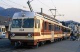 Tram No 304 at Aigle on 20.2.1989