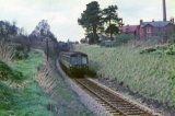 DMU approaching Pans Lane Halt, Devizes Branch, 4.1966